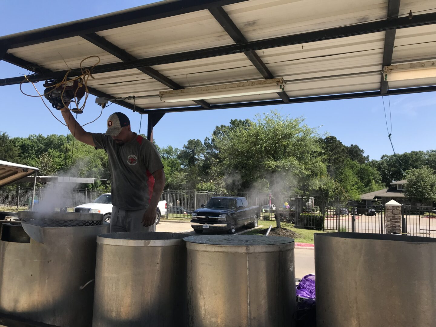 Big stainless pots used by The Crawfish Man